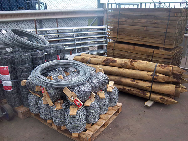 Fencing Material In Stock @ Ayr depot     Stobs  Strainers  Railing  Barb  Plain Wire  Netting   Staples  Gates